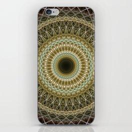 Brown and golden mandala iPhone Skin