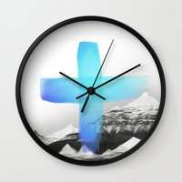 mountains Wall Clocks featuring Mountains by Amy Hamilton