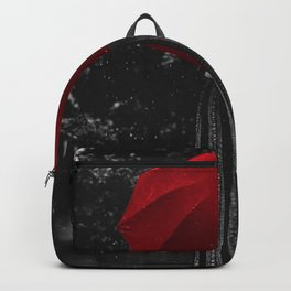 Girl in the rain with a red umbrella black and white photograph / art photography Backpack