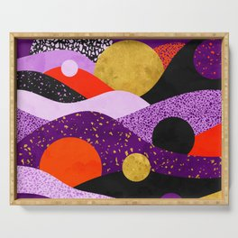 Terrazzo galaxy purple orange gold Serving Tray