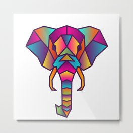Elephant | Geometric Colorful Low Poly Animal Set Metal Print