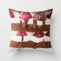 cake Throw Pillows featuring Cake by Jovana Rikalo