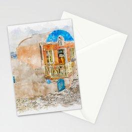 Aquarelle sketch art. Santorini Vlichada beach, blue sky and sea Stationery Cards