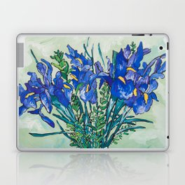 Iris Bouquet in Chinoiserie Vase on Blue and White Striped Tablecloth on Painterly Mint Green Laptop & iPad Skin