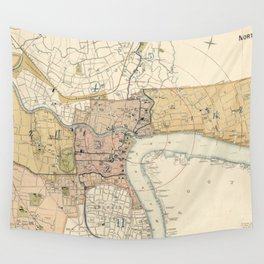 Vintage Map of Shanghai China (1918) Wall Tapestry