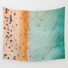 People On Algarve Beach In Portugal, Drone Photography, Aerial Photo, Ocean Wall Art Print Wall Tapestry