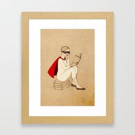 Superhero reader Framed Art Print