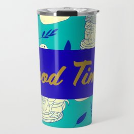 Blue Food Time Pattern Travel Mug