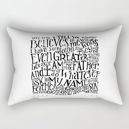 John 14:12-14 Bible Verse // Hand-Lettered Rectangular Pillow