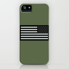 IR U.S. Flag on Military Green Background iPhone Case