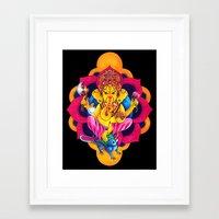 ganesh Framed Art Prints featuring Ganesh by missfortunetattoo