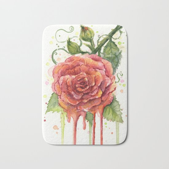 Red Rose Dripping Watercolor Flower Bath Mat