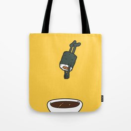 Sushi Jumps Into Soya Sauce Tote Bag