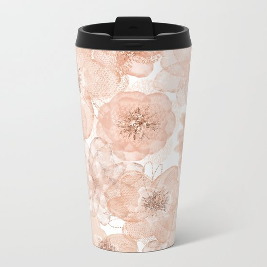 Flowers and Lace- Floral pattern in pink Metal Travel Mug