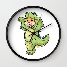 Cat baby in dinosaur costume Wall Clock