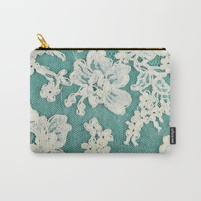 white lace - photo of vintage white lace Carry-All Pouch