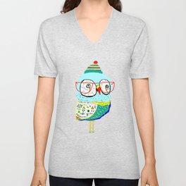 Bobble Hat Owl. Unisex V-Neck