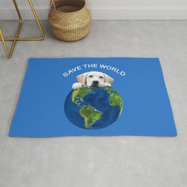 Save the world - Golden retriever and typography Rug