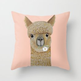 Watercolor llama with flowers pink Throw Pillow