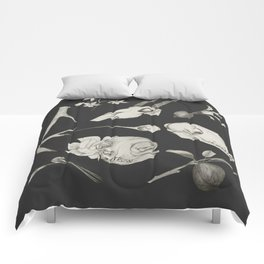 Bones and Botanical Sketches Comforters