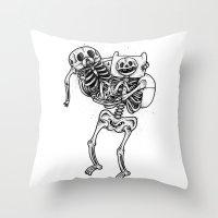 finn and jake Throw Pillows featuring Finn & Jake Bones by Will Blood