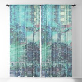Totem Cabin Abstract - Teal Sheer Curtain