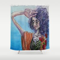 mirror Shower Curtains featuring Mirror by Katy Dai