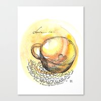 coffe Canvas Prints featuring coffe love by Olga Chekalkina