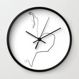 """""""Fashion Line Collection"""" - Minimal One Line Woman Figure With Dress Print Wall Clock"""