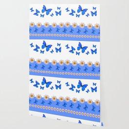BABY BLUE MODERN ART BLUE BUTTERFLIES & WHITE DAISIES Wallpaper