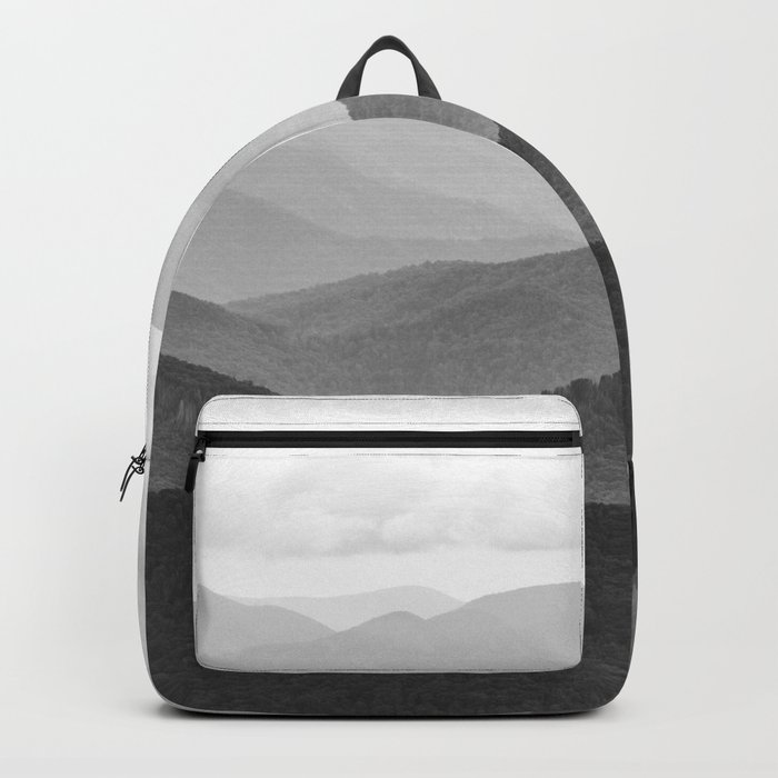 Forest Fade - Black and White Landscape Nature Photography Backpack