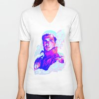 blade runner V-neck T-shirts featuring RICK DECKARD // BLADE RUNNER by mergedvisible