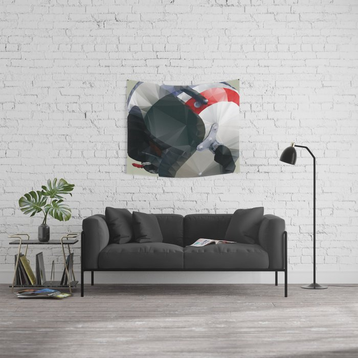 Tag Heuer Steve McQueen Cafe Racer Helmet Polygon Art Wall Tapestry