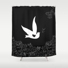 Wings of Love - Black Shower Curtain