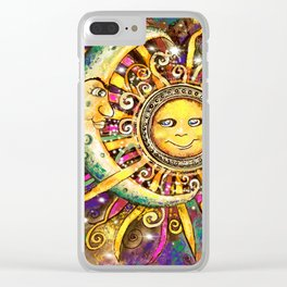 Celestial Soulmates Clear iPhone Case