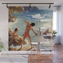 """N C Wyeth Painting """"The First Maine Fishermen"""" Wall Mural"""
