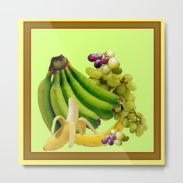 YELLOW-GREEN BANANAS GREEN GRAPES ART DESIGN Metal Print