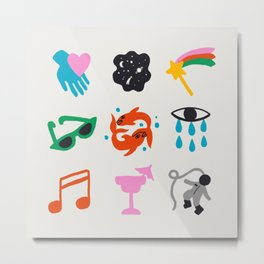 Pisces Emoji Metal Print
