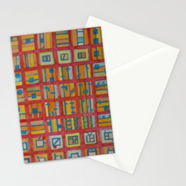 Red Grid with House Technic and Supply Stationery Cards