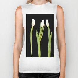 White tulips on a black background Biker Tank