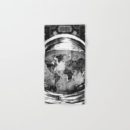 astronaut world map black and white 2 Hand & Bath Towel