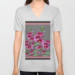 Fuchsia Pink Holly Hocks Grey Vinette Unisex V-Neck
