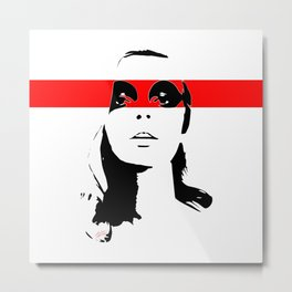 FEMBOT - Black, White and Red Female Pop Art Graphic Design Metal Print
