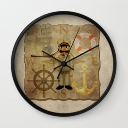 Captain, ship, rudder, anchor, lifebelt, map, compass, old map, messy, messy map Wall Clock