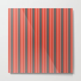 Grey Orange Vertical Lined Stripes Metal Print