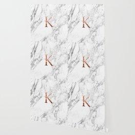 Monogram rose gold marble K Wallpaper