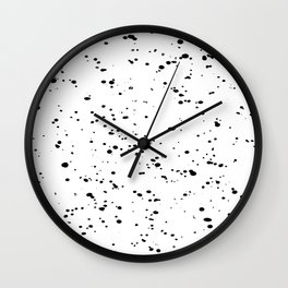 Paint Spatter Black on White Wall Clock