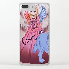 Wolf Princess Moonrabbit (blue wolf) Clear iPhone Case