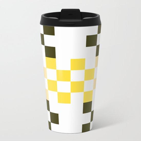 Yellow Pixel Metal Travel Mug
