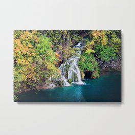 Waterfall And Lake in Autumn Forest Metal Print